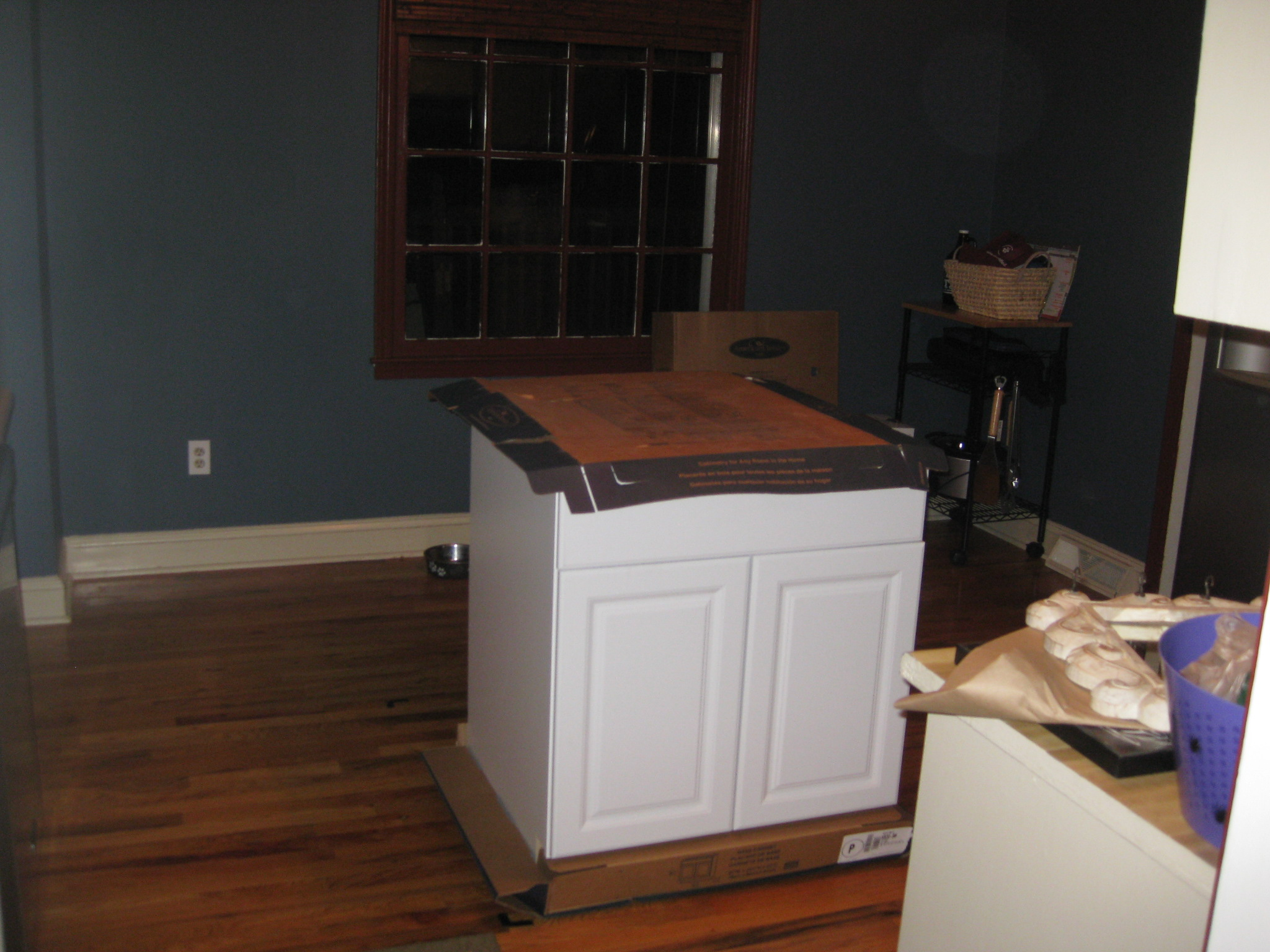 Kitchen island made from ikea cabinets for Pre built kitchen units